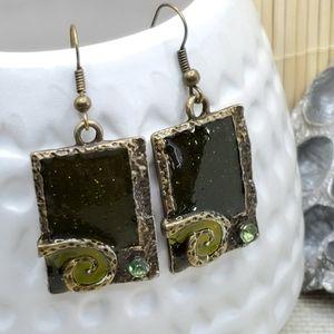 Antiqued Enamel Crystal Earrings Green Rectangle
